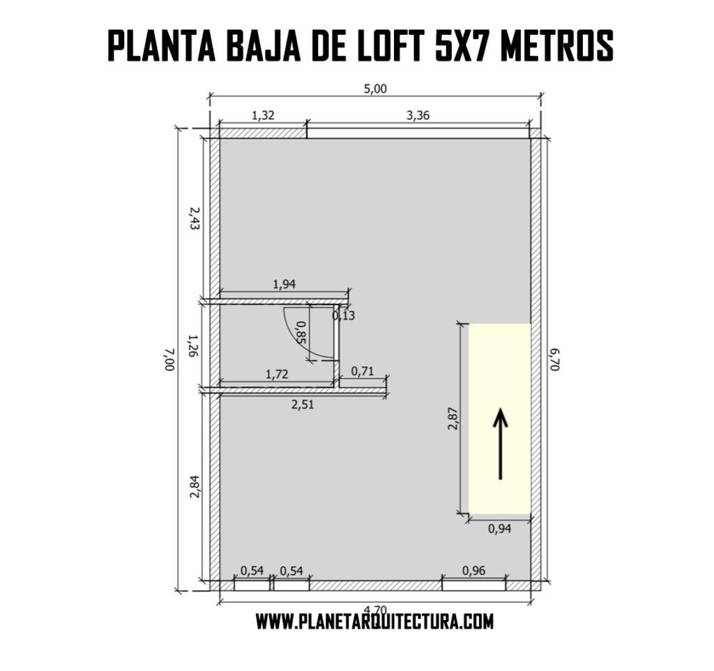 PLANO DE LOFT MODERNO 5X7 METROS