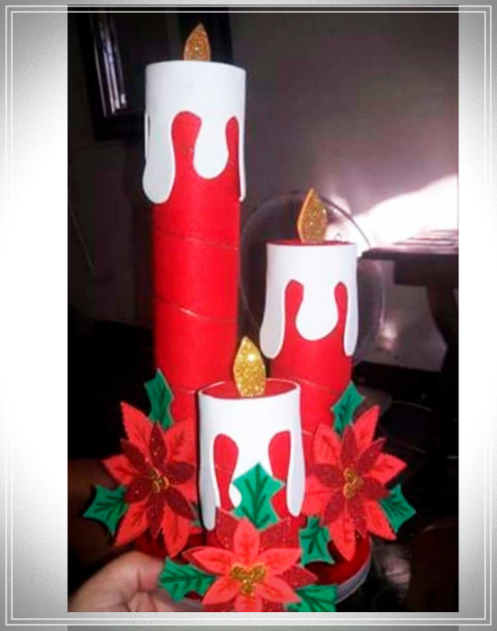 Christmas candles with cardboard tubes