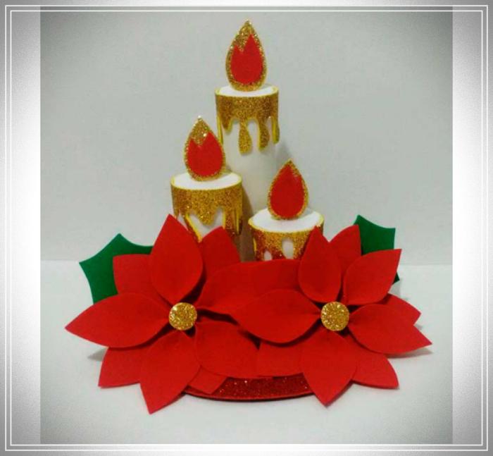 velas navideñas con tubos de cartón