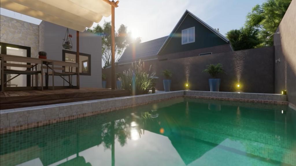 Plano de casa 6x12 metros con piscina 🏊