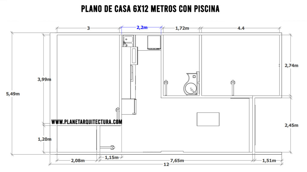 House plan 6x12 meters with pool 🏊