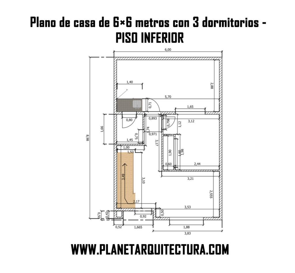 Plano De Casa De 6x6 Con 3 Dormitorios 2 Pisos Planeta Arquitectura