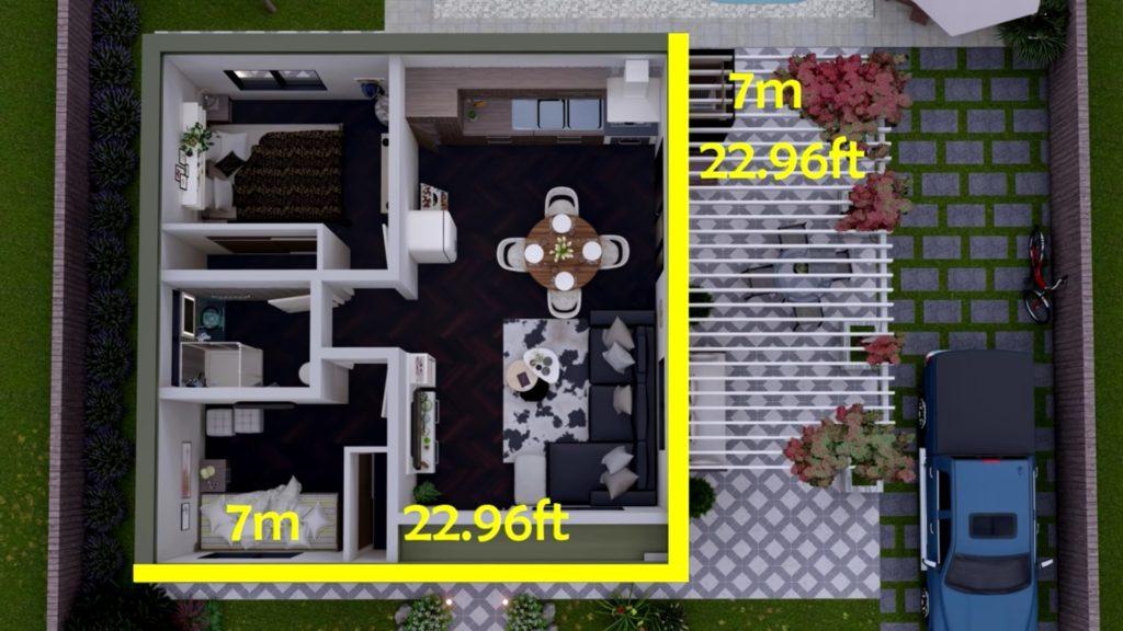 plano de casa pequeña 7x7 metros